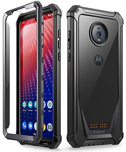 Moto Z4 Rugged Clear Case, Poetic Full-Body Hybrid Shockproof Bumper Cover, Built-in-Screen Protector, Guardian Series, Case for Motorola Moto Z4 (2019 Release), Black/Clear