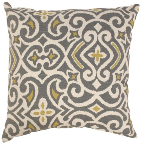 Pillow Perfect Greenish Yellow Damask 18 Inch