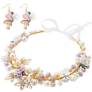 Bridal Girls Headband Luxurious Champagne Purple White Artificial Pearls, Porcelain Roses Flowers, Crystal Beads, Gold Leaves Decor Floral Wedding Tiara Headpiece with Ribbons + Earrings 102