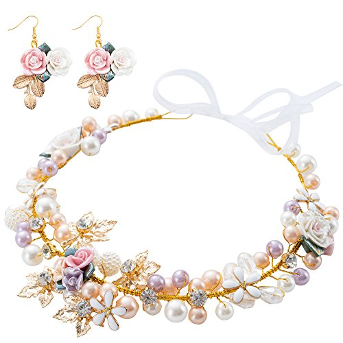 Bridal Girls Headband Luxurious Champagne Purple White Artificial Pearls, Porcelain Roses Flowers, Crystal Beads, Gold Leaves Decor Floral Wedding Tiara Headpiece with Ribbons + Earrings by LONGBLE