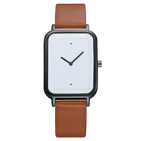 Tomi - Reloj de cuarzo para hombre, Casual Fashion rectangular esfera analógica reloj de pulsera clásico minimalista Piel Sintética relojes para hombre ...
