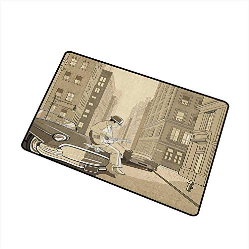 Jazz Music Non Slip Doormat Illustration of a Guitarist in an Old Street of New York Buildings Music Cityscape for Outdoor and Indoor 16