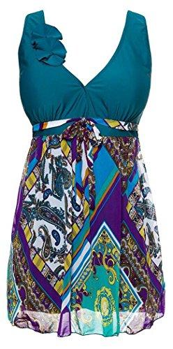 J-SUN-7 Women's Halter Shaping Body Two-Piece Swimsuit Plus Size Swimwear(Blackish Green,2XL)