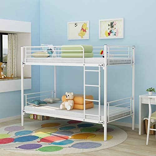 Bunk Bed Modern Style Metal Bed Frame Platform with Steel Slats Support No Box Spring Needed, Heavy Duty Steel Legs, Double Beds with Ladders, Twin and Twin, Bunk Beds