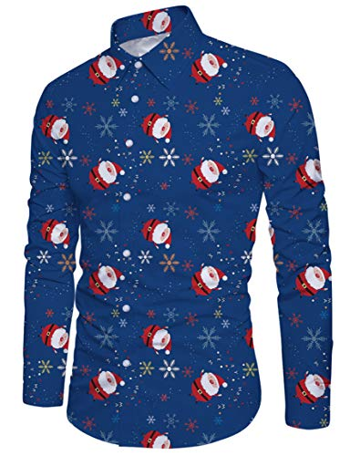 Santa Button Slim Chemise Shirt À Manches Down Loveternal Homme M xxl Longues Casual Fit 0qnfxAZOAw