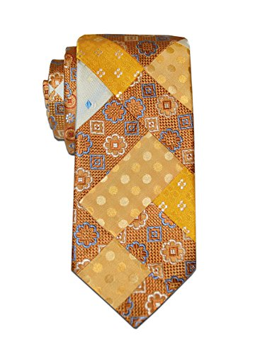 - Remo Sartori Made in Italy Men's Handmade Yellow Patchwork Tie,3.34'' Width,Silk