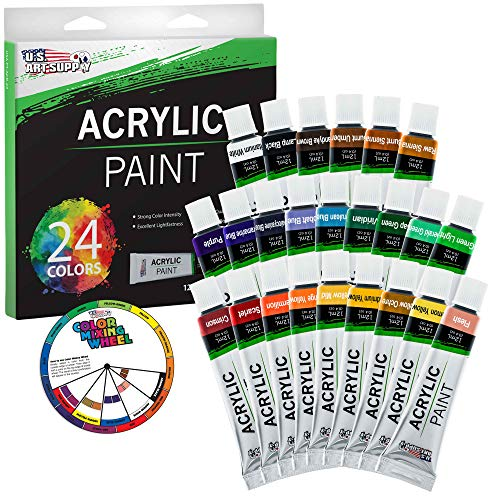 U.S. Art Supply Professional 24 Color Set of Acrylic Paint in 12ml Tubes – Rich Vivid Colors for Artists, Students…