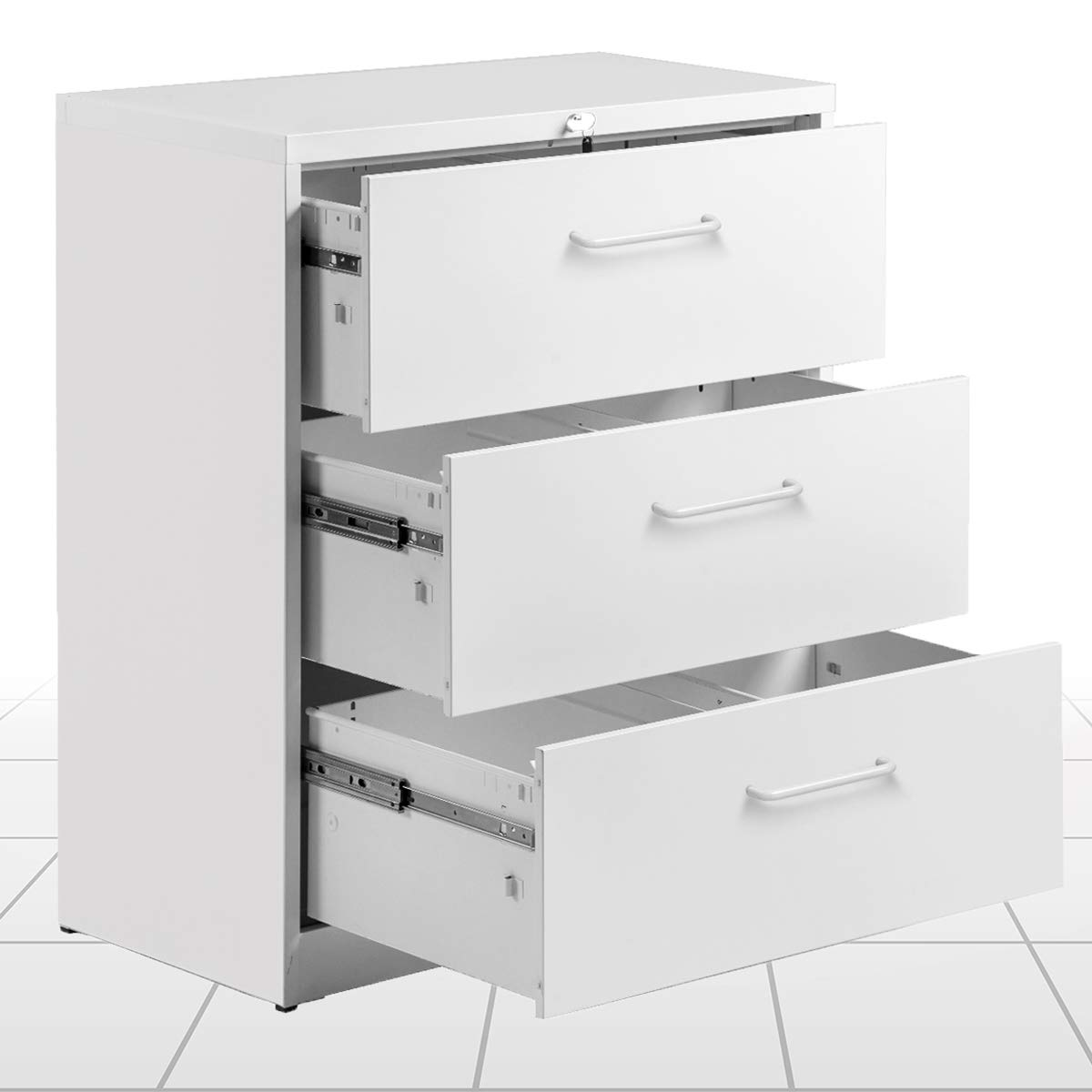 3 Drawers lateral Filing Cabinet 2 Drawer Locking File Cabinet Metal Organizer Heavy Duty Hanging File Office Home Storage