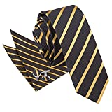 DQT Premium Woven Microfibre Single Stripe Patterned Black and Gold Men's Casual Business Skinny Narrow 5cm Tie with Matching Pocket Square and Cufflinks Set