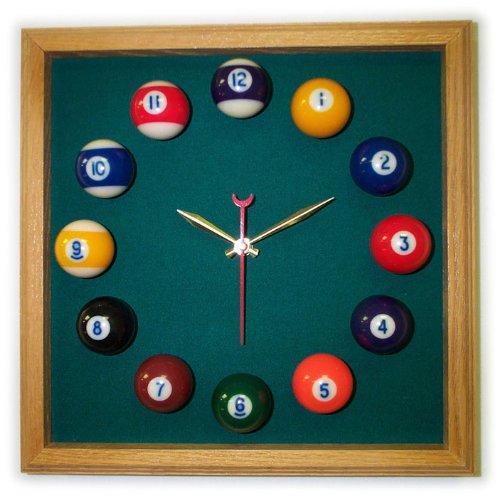 12in Square Billiard Clock Oak Dark Green Mali - Felt Clock Square