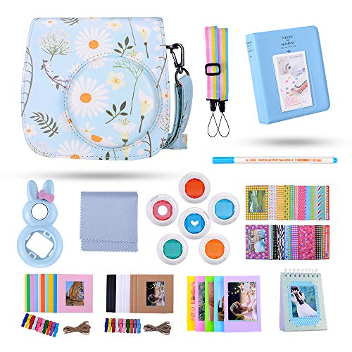 Famall 13 in 1 Instax Mini 9 Camera Accessories Bundles for FujiFilm Instax Mini 9 8 8+ Camera with Mini 9 Case/Album/Selfie Lens/Filters/Wall Hang Frames/Film Frames/Border Stickers(Chrysanthemum)