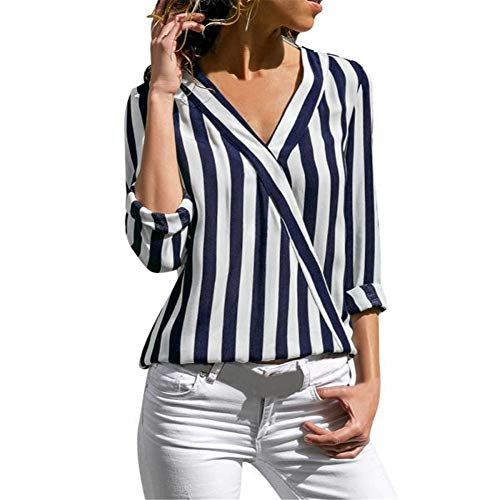 Women's Summer Sexy V Neck Stripes Roll up Sleeve Button Down Blouses Tops Patchwork Casual Loose tee Blue -