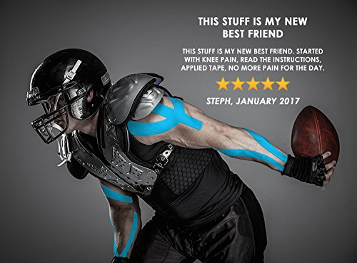 Physix Gear Sport 6 Pack Kinesiology Tape - Free Illustrated E-Guide - 16ft Uncut Roll - Best Pain Relief Adhesive for Muscles, Shin Splints Knee & Shoulder - 24/7 Waterproof Therapeutic Aid (Blue) by Physix Gear Sport (Image #5)