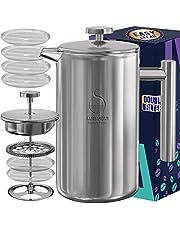 Koffiezetapparaat voor Franse pers, roestvrij staal 34oz dubbelwandige metalen geïsoleerde koffie-theemachines met filtersysteem op 4 niveaus, roestvrij, vaatwasmachinebestendig (1000ml)