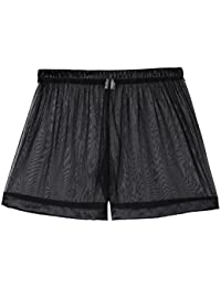 0fc63a68865f Men's See-Through Mesh Loose Shorts Lounge Underwear Cover up Boxer Trunks