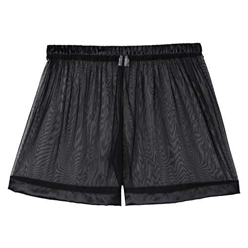 Freebily Men's Sheer Mesh Boxer Shorts Smooth Briefs Underwear Black Medium(Waist:31.0-52.5