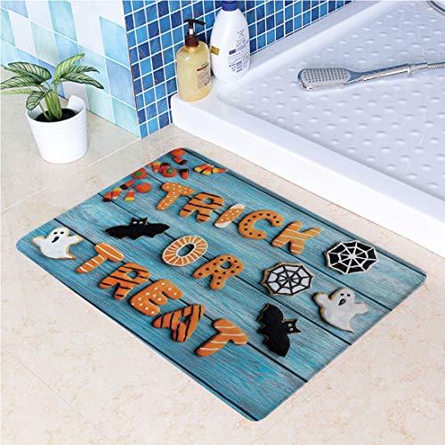 (Large Door Mats,Trick or Treat Cookie Wooden Table Ghost Bat Web Halloween Outdoor Indoor Entrance Doormat, Waterproof, Easy Clean, Entryway Rug,Front Doormat Inside Outside Non Slip (23.6x35.4)