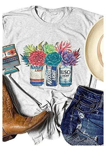 Womens Coors Light Bud Light Funny Shirt Graphic Tees Short Sleeve Tops (L, Grey)