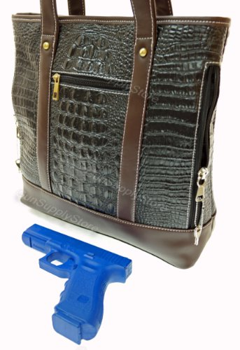 Concealed Carry Purse - Leather Tote for LARGE WEAPONS-Locking Dual-Draw CCW Pocket by GSS