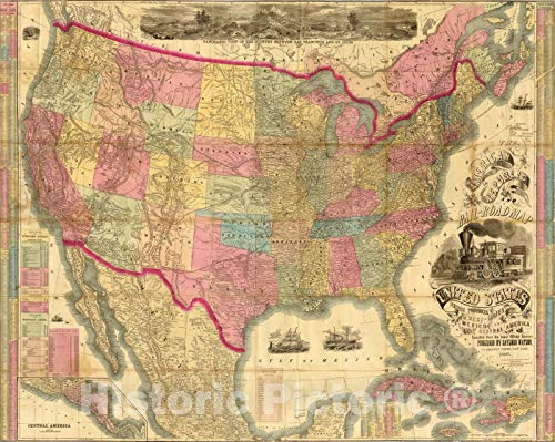 (Historic Map | The American Republic and rail-road map of the United States, 1867 | Vintage Wall Art | 30in x 24in)