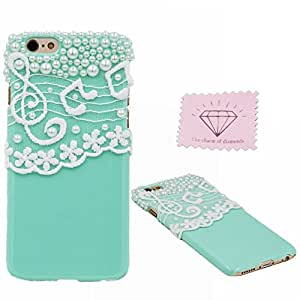 iPhone 6 Hard Case, Charm Of Diamonds Elegant Handmade Pearl Lace Cover For Apple iPhone 6 4.7'' Protective Hard Case Plastic Phone Back Skin (Green) +Clean Cloth