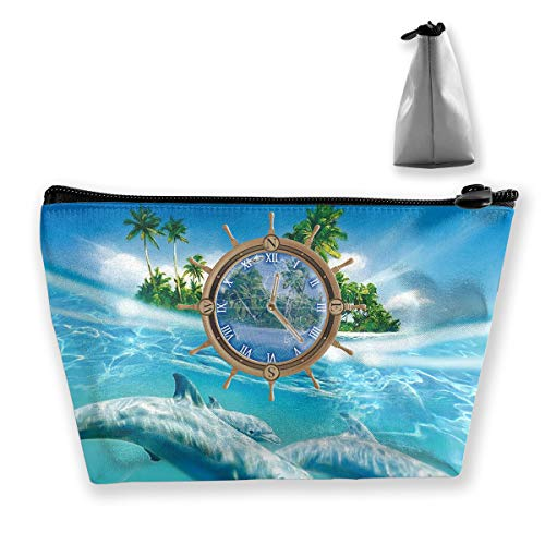 Makeup Bag Cosmetic Dolphin Water Clock Portable Cosmetic Bag Mobile Trapezoidal Storage Bag Travel Bags with -