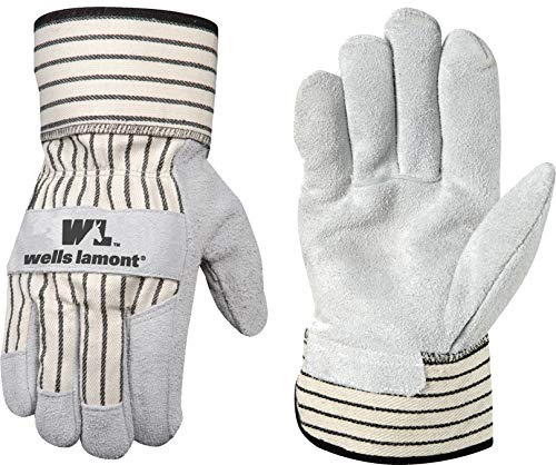 Gloves Leather Palm Cuff (Wells Lamont Leather Work Gloves with Safety Cuff, Suede Palm, Large (4000L))