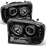 99 superduty headlights - Ford F-Series SuperDuty 00-04 Excursion Black Smoke Dual Halo Projector Headlights Replacement Pair