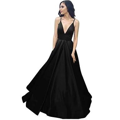 GFDress Women V Neck Long Prom Dresses 2018 Party Evening Dress Hear Spaghetti Straps Satin Dress