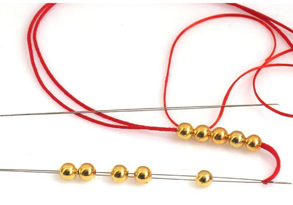 5pcs diff/érentes tailles /à la main perles ultrafines aiguille usure perle fil ouverture moyenne aiguille grands yeux broches artisanat points de support