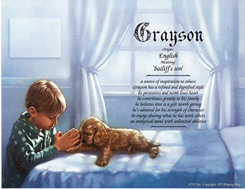 Praying Boy 1 - Personalized ANY First Name Meaning Keepsake Print 8.5