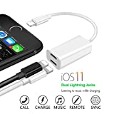 2 in 1 iphone 7&8 adapter for headphone and charger,Lightning splitter to Dual Port audio and charge,charge and listen to music at the same time, Support IOS 11 and before