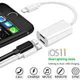 iPhone 7 & iPhone 8 Lightning Splitter, Dual Port Charging and Headphone Adapter,2 in 1 Charge and Audio Listen to Music at the Same Time, Support iOS 11 and before