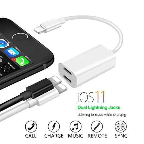 iPhone 7 & iPhone 8 Lightning Splitter, Dual Port Charging and Headphone Adapter,2 in 1 Charge and Audio Listen to Music at the Same Time, Support iOS 11 and - Iphone Adapter Charging