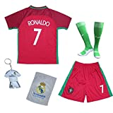 2018 Portugal Cristiano Ronaldo #7 Home Red Kids Soccer Football Jersey Gift Set Youth Sizes