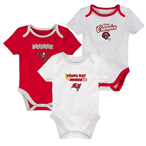 OuterStuff NFL Newborn Third Down 3 Piece Onesie Set, Tampa Bay Buccaneers, White/Red, 3 (Tampa Bay Buccaneers Infant Onesie)