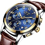 Mens Watches Waterproof Business Dress Analog Quartz Watch Men Luxury Brand LIGE Date Sport Brown...