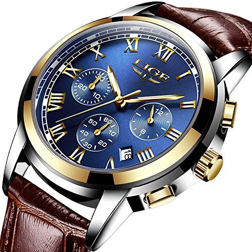 Mens Watches Waterproof Business Dress Analog Quartz Watch Men Luxury Brand LIGE Date Sport Brown Leather Clock -