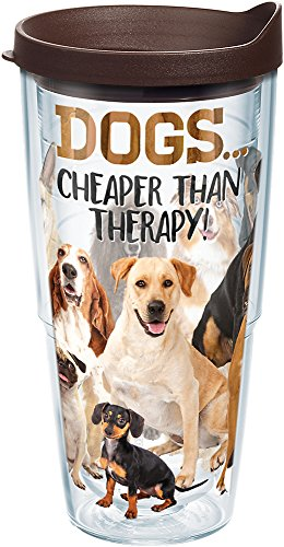 (Tervis 1249735 Dog Therapy Tumbler with Wrap and Brown Lid 24oz, Clear)