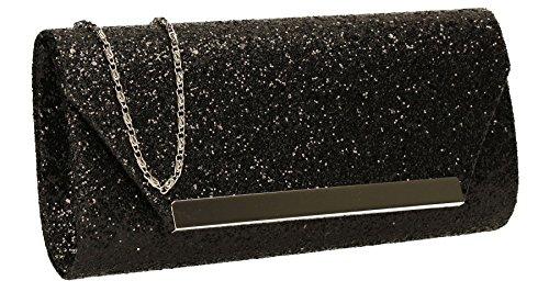 Shanina glitter busta da donna pochette da party Prom wedding bag- Swankyswans Black
