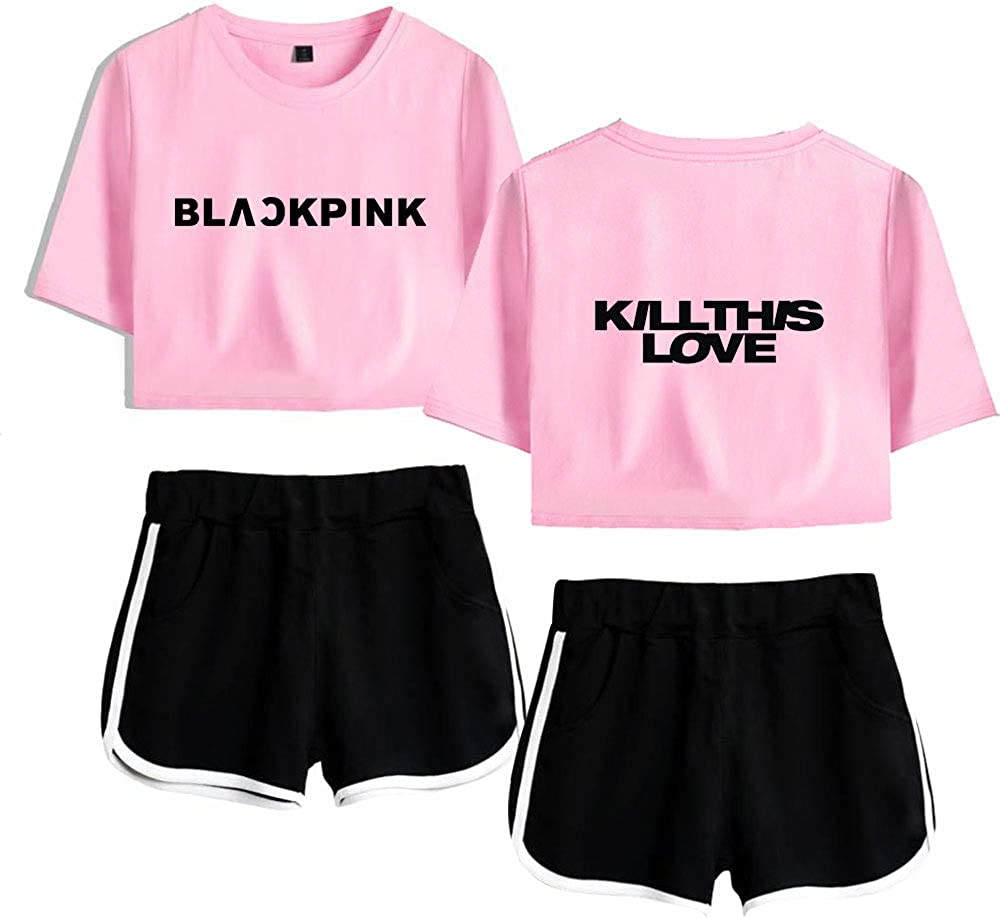 Shorts Pantalons 2 Pi/èces Manches Courtes T-Shirt Shorts Fitness Surv/êtements JISOO Lisa Jennie Rose Flyself Kpop Blackpink Kill This Love Shirt Crop Top