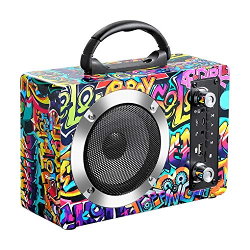 XBARV Wireless Bluetooth Wooden Speaker,Chargeable Continuous Battery Life 1500Mah,Radio FM Radio,for Parties,Outdoor,Indoor,Graffiti