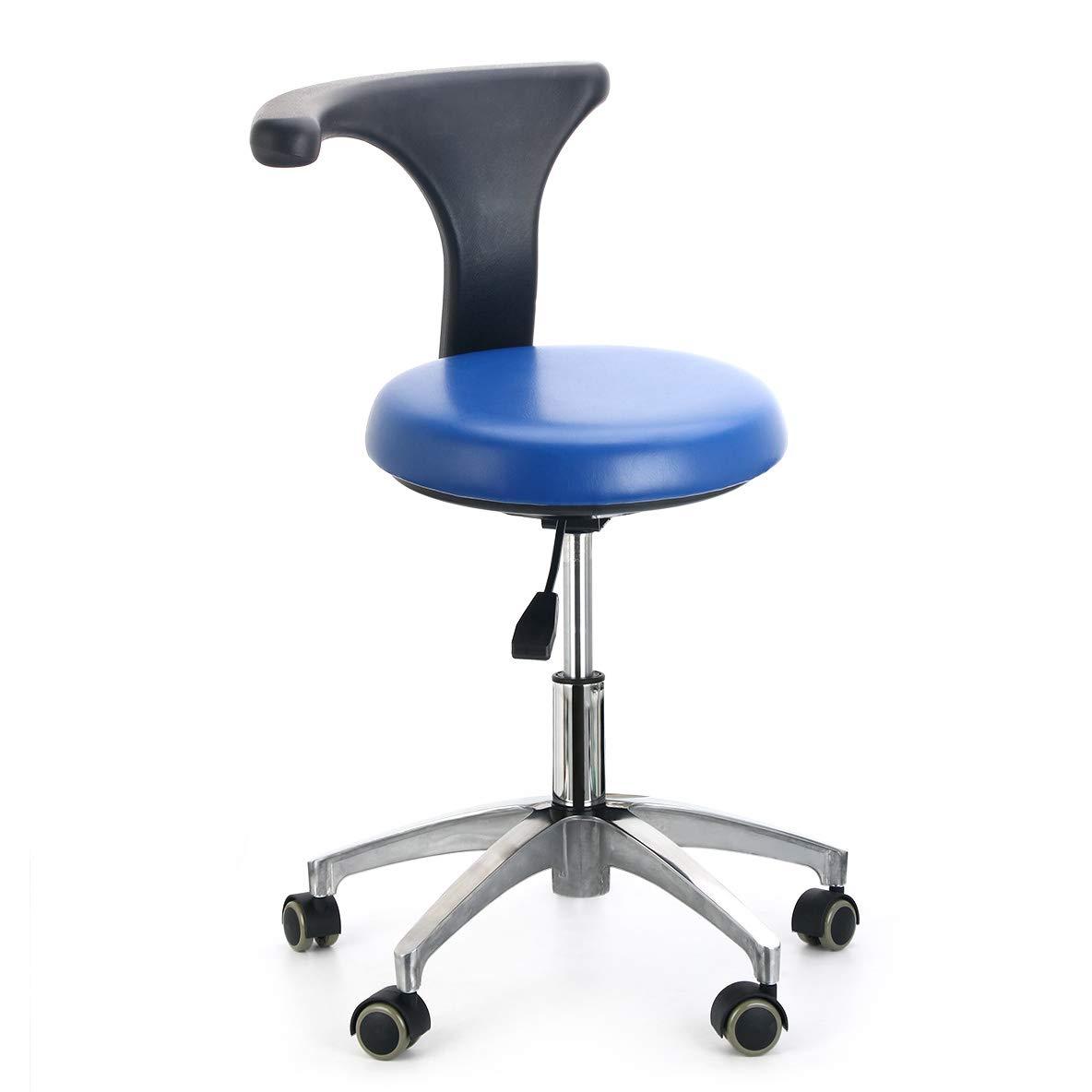 AZDENT Ergonomic Medical Doctor Stool Dentist Swivel Rolling Chair with Back Foot Rest Adjustable Dentist Stool Dental Clinic Spa Massage Salon