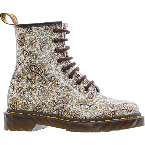DR. MARTENS Brown Leather Paisley Nubuck Boots, Size 3UK