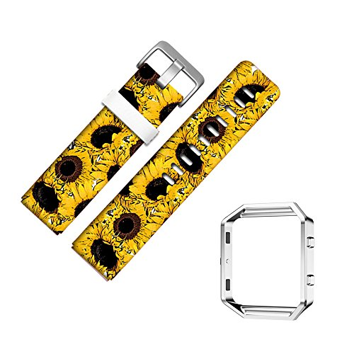 for Fitbit Blaze Accessory Band for Women Men, Frame Housing+Genuine Leather Art Pattern Replacement Strap for Fitbit Versa Fitness Wristband-804.Yellow Sunflower Art Pattern