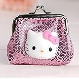 Hello Kitty Mini Paillette Pink Coin Purse Cartoon Samll Wallet