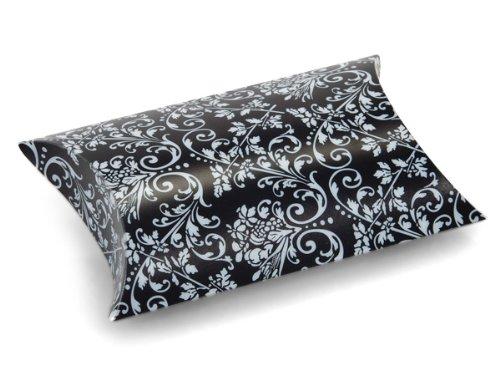 BLACK w/ WHITE DAMASK Pillow Box3-1/2 x 3 x 1'' (7 unit, 12 pack per unit.)