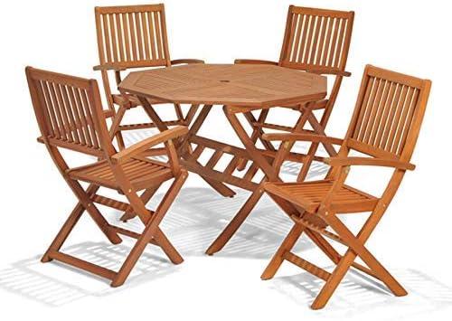 Juego de Muebles de jardín de Madera, Mesa y sillas ...