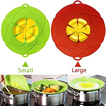 AuSincere Spill Stopper Lid Cover,Anti Spill Lid Cover,No Boil Over Lid,Pot Cover Silicone Spill Stopper Lid,Boil Over Safeguard, 11inch and 10.2inch Multi-Function Kitchen Tool(Green And Red)