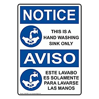 ComplianceSigns Plastic OSHA NOTICE Sign, 10 X 7 In. With Wash Hands   Sink